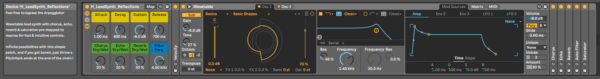 Reflections synth preset for Ableton live 10 suite by Evan Hays