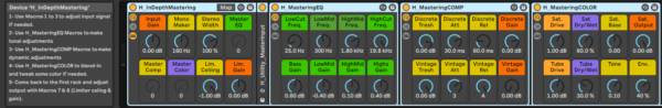 In Depth mastering rack with ableton live suite native devices